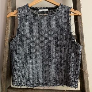 Textured blue crop top